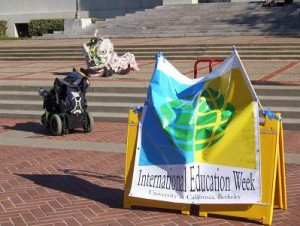 International Education Week banner, with a Chinese Dragon performance on the Sproul steps