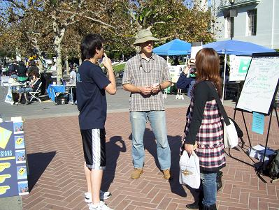 Dave talking to a few international students